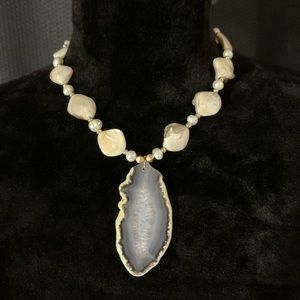 Jewelry - Shell freshwater pearls and geode slice necklace